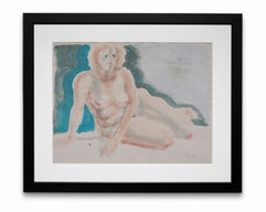 """""""Blue Nude"""", Watercolor and Graphite on Paper"""