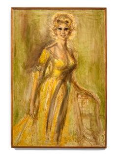 """""""Eva Gabor"""" Female Portrait, Golden Colors, Movie Star"""