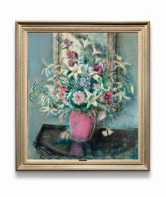 """""""Flowers in Pink Vase"""" Oil on Canvas, Still-Life Painting, Rich Pinks & Greens"""