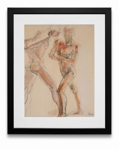 """""""Male Nudes"""", Watercolor and Graphite on Paper"""
