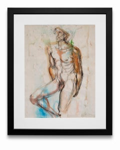 """""""Nude Male #2"""", Watercolor and Charcoal on Paper"""
