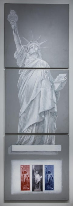 """""""Statue of Liberty"""" American Icon, Oil Painting, Triptych"""