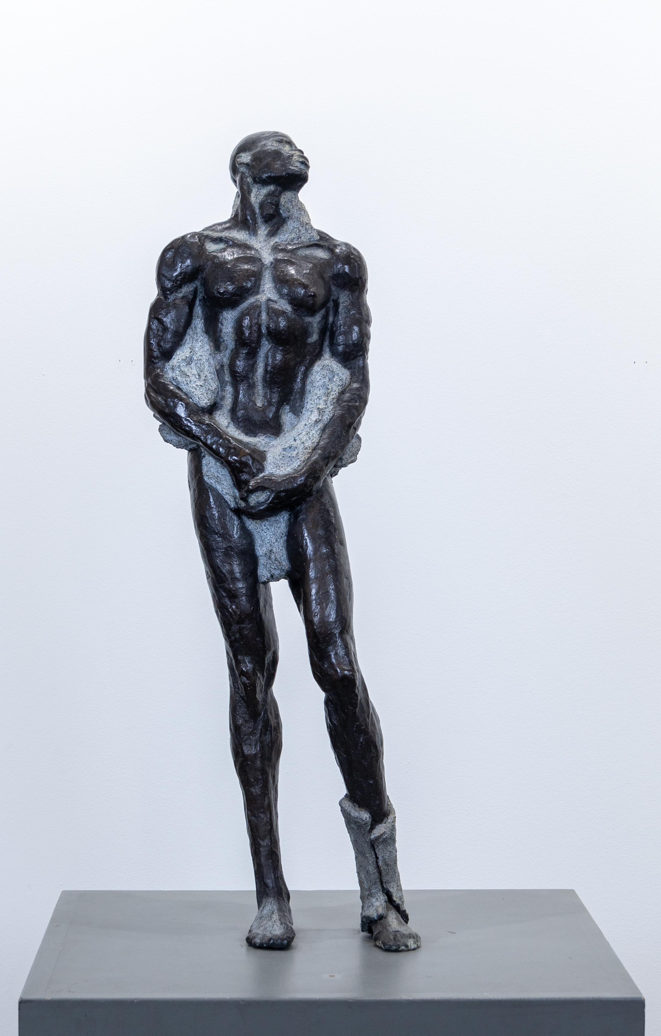"""Emerging First Man"" Bronze Sculpture, Male Figurative, Ceramic Shell, Resin"