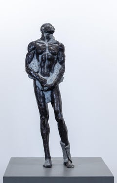 """Emerging First Man"" Bronze Sculpture, Male Figurative, Ceramic Shell, Resin"