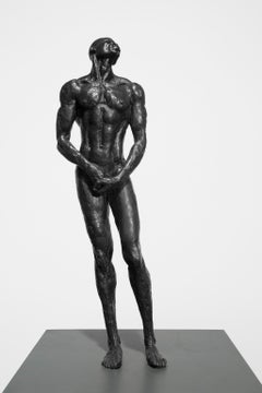 """""""First Man""""  Bronze with Black Patina, Nude Male Sculpture"""