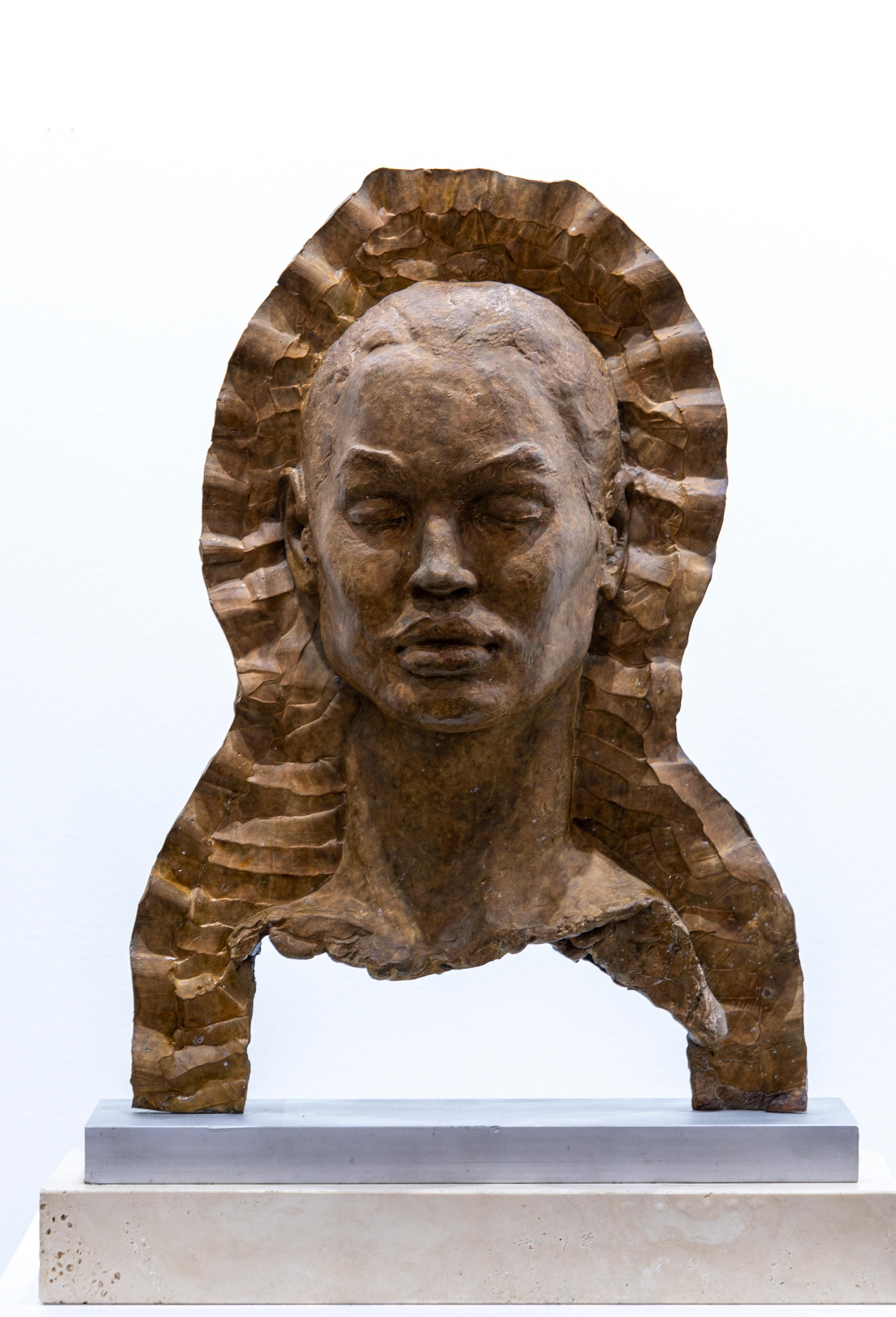 """""""Madonna"""" Bronze Sculpture with Patina, Marble base, Figurative, Female"""