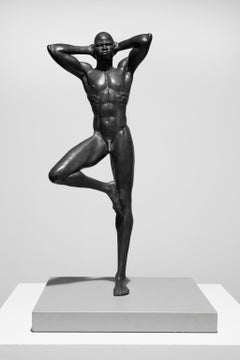 """""""New Man"""" Nude Male Sculpture, Bronze with Black Patina"""