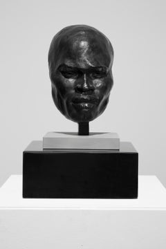 """Praying Man (fragment)"" Male, Head, Sculpture, Bronze"