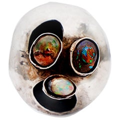 Artisan Australian Opal Ring of Smiling Face 925 Sterling Silver