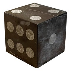 Artisan Black & Natural Gray Marble Stone Dice Table Sculpture Modern Vintage