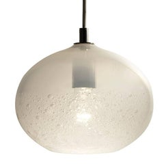 Artisan Blown Glass Shade • Alabaster Ellipse Bubble Pendant - Made to Order
