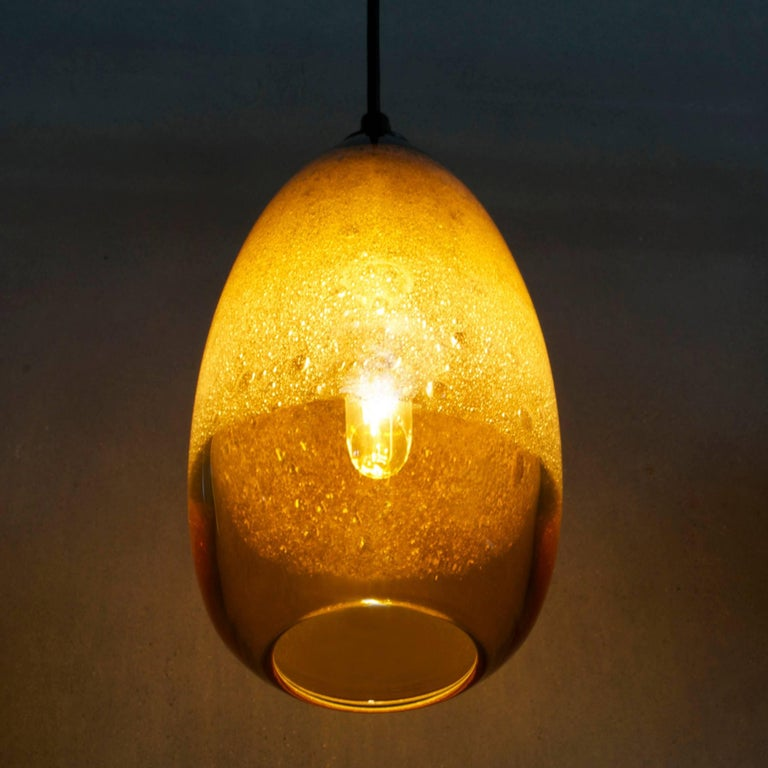 Mid-Century Modern Modern Hand Blown Lighting, Amber Cone Bubble Pendant For Sale