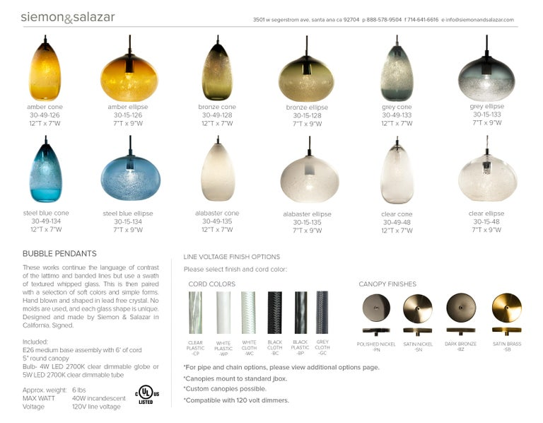 Modern Hand Blown Lighting, Amber Cone Bubble Pendant For Sale 3