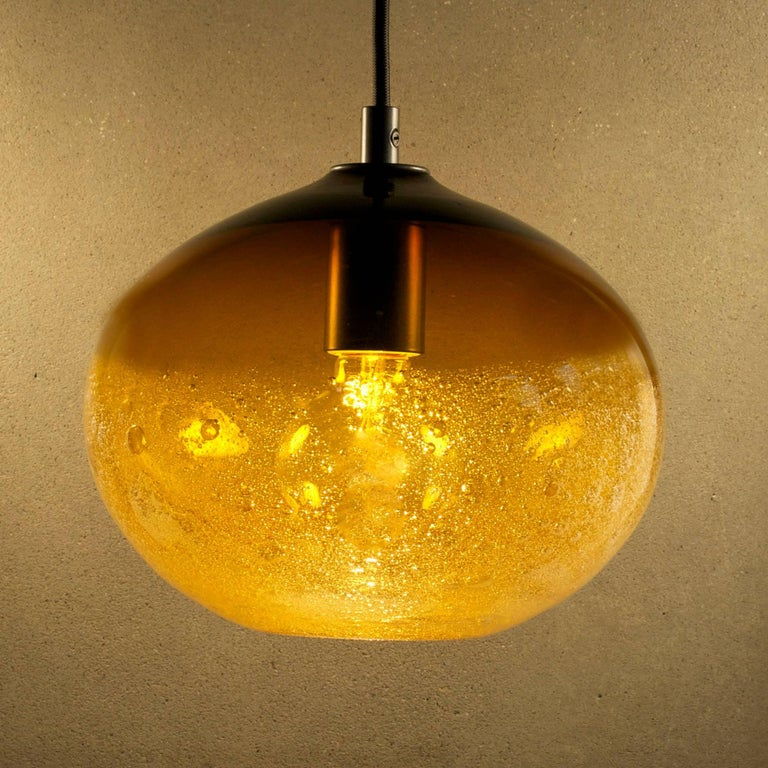 Amber Ellipse Bubble Pendant • Hand Blown Glass • Made in USA Canopy / Cord Options Available Various Colors Available Measures: 7