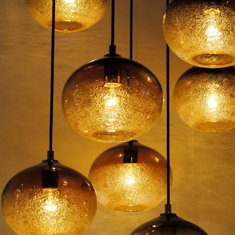 Mid-Century Modern Artisan Blown Glass Shade • Amber Ellipse Bubble Pendant - Made to Order For Sale