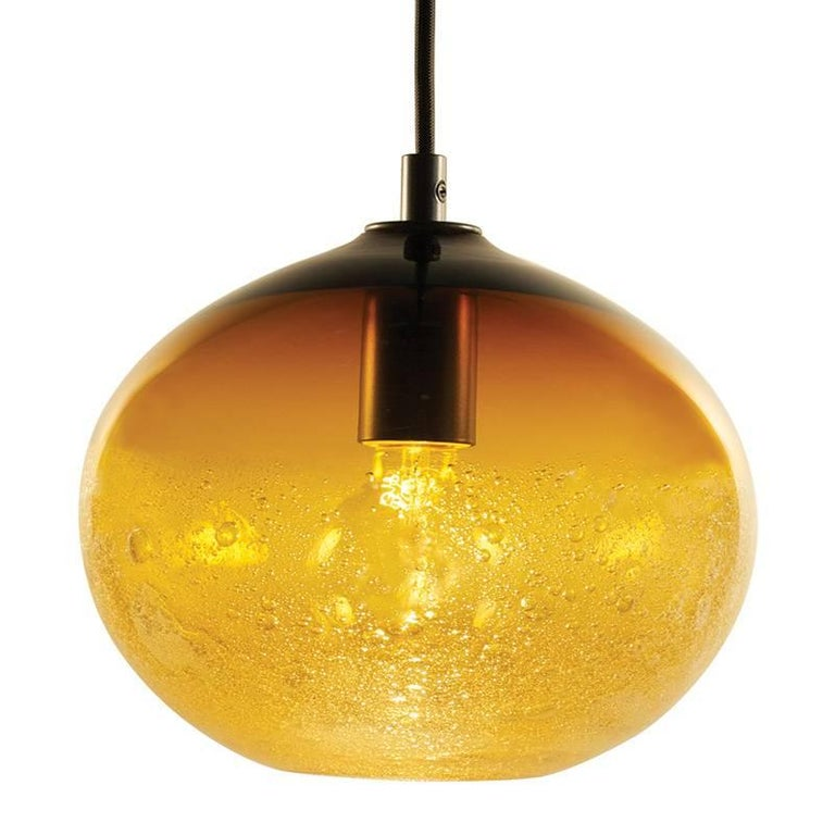 Artisan Blown Glass Shade • Amber Ellipse Bubble Pendant - Made to Order For Sale