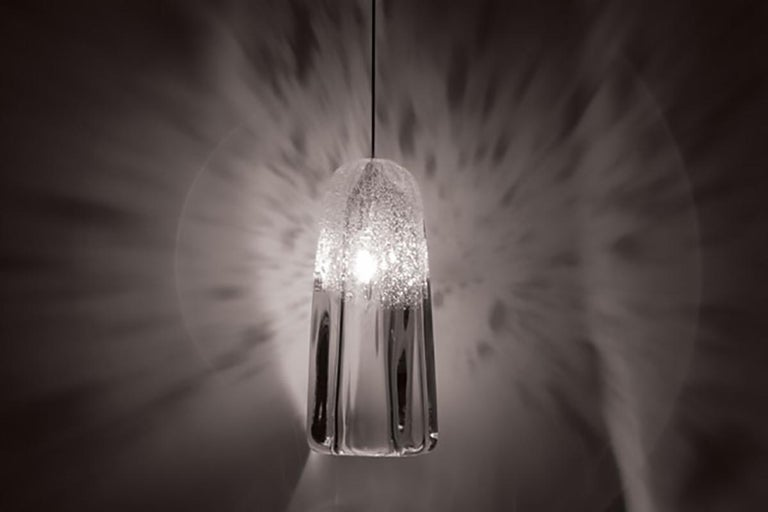 American Artisan Blown Glass Shade, Clear Square Bubble Pendant Light, Made to Order For Sale