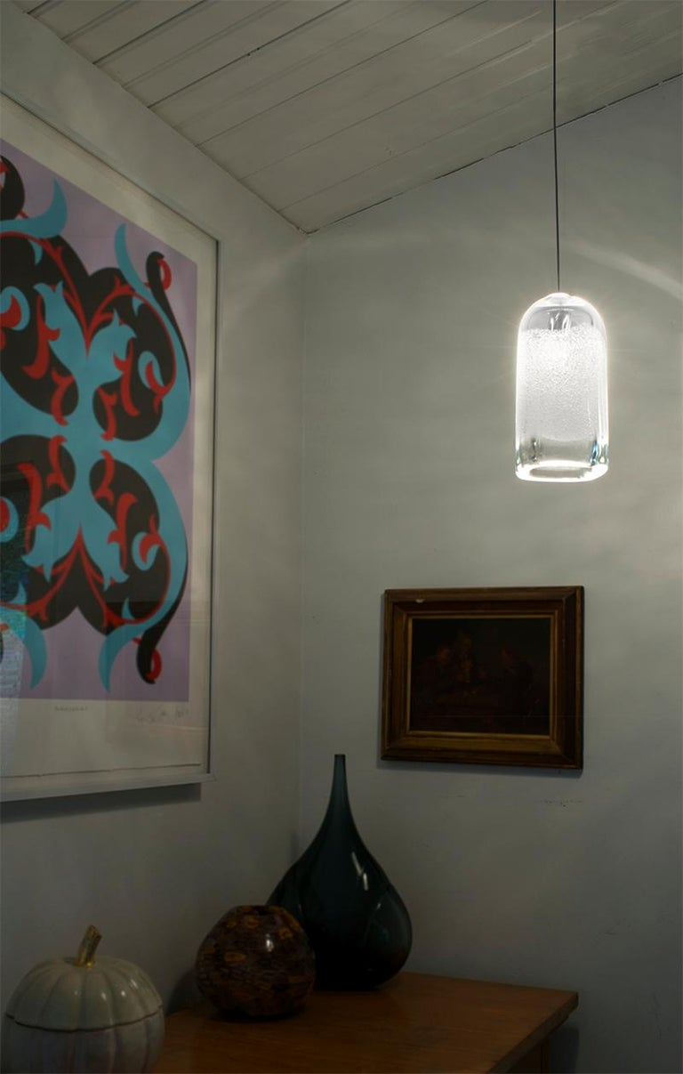 Artisan Blown Glass Shade, Clear Square Bubble Pendant Light, Made to Order In New Condition For Sale In Santa Ana, CA