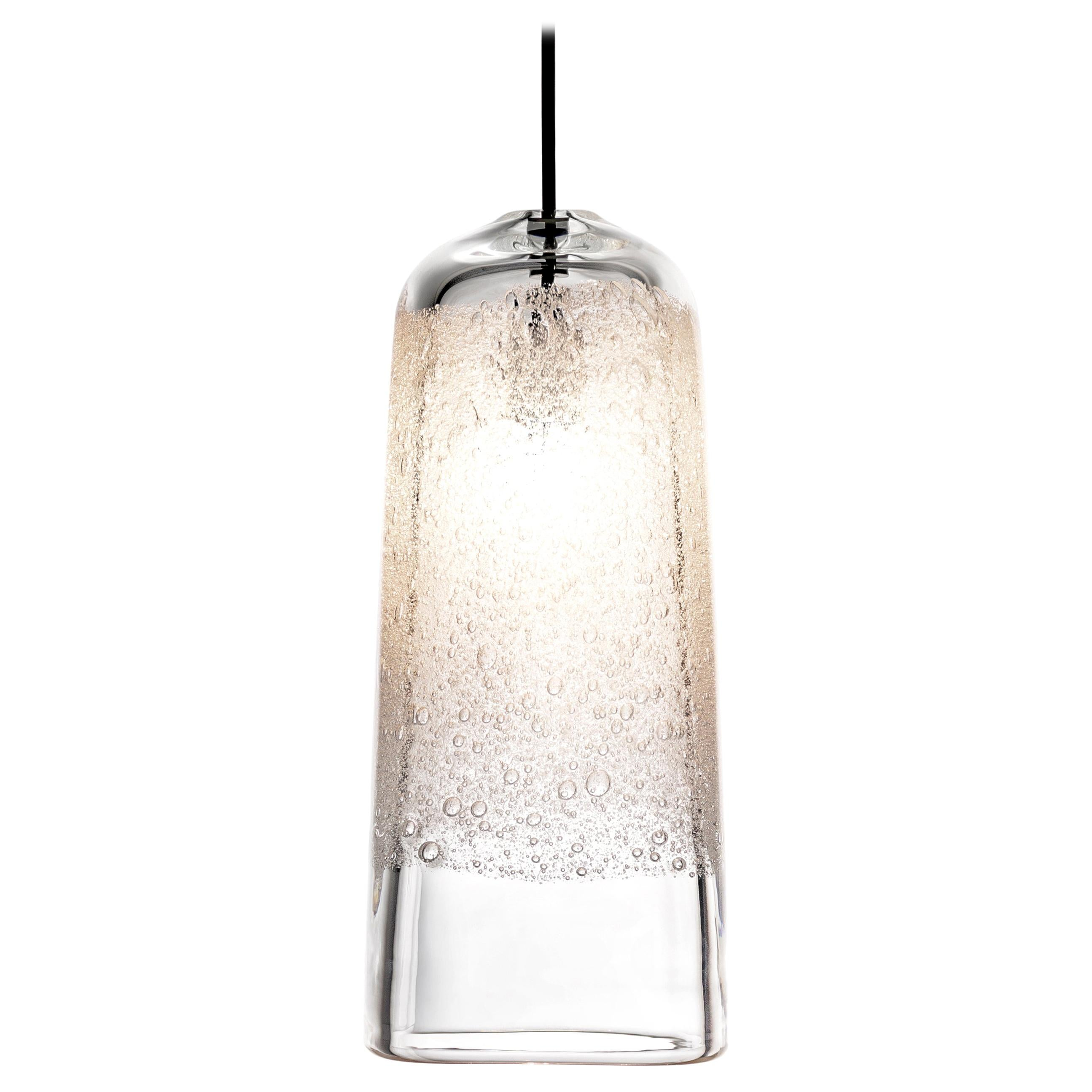 Small Square Pendant Light, Hand Blown Clear Glass with Bubbles - Made to Order