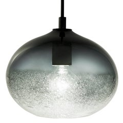 Artisan Blown Glass Shade • Grey Ellipse Bubble Pendant - Made to Order