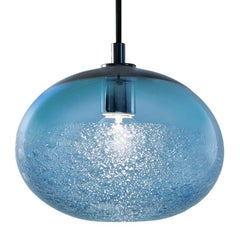 Artisan Blown Glass Shade • Steel Blue Ellipse Bubble Pendant - Made to Order