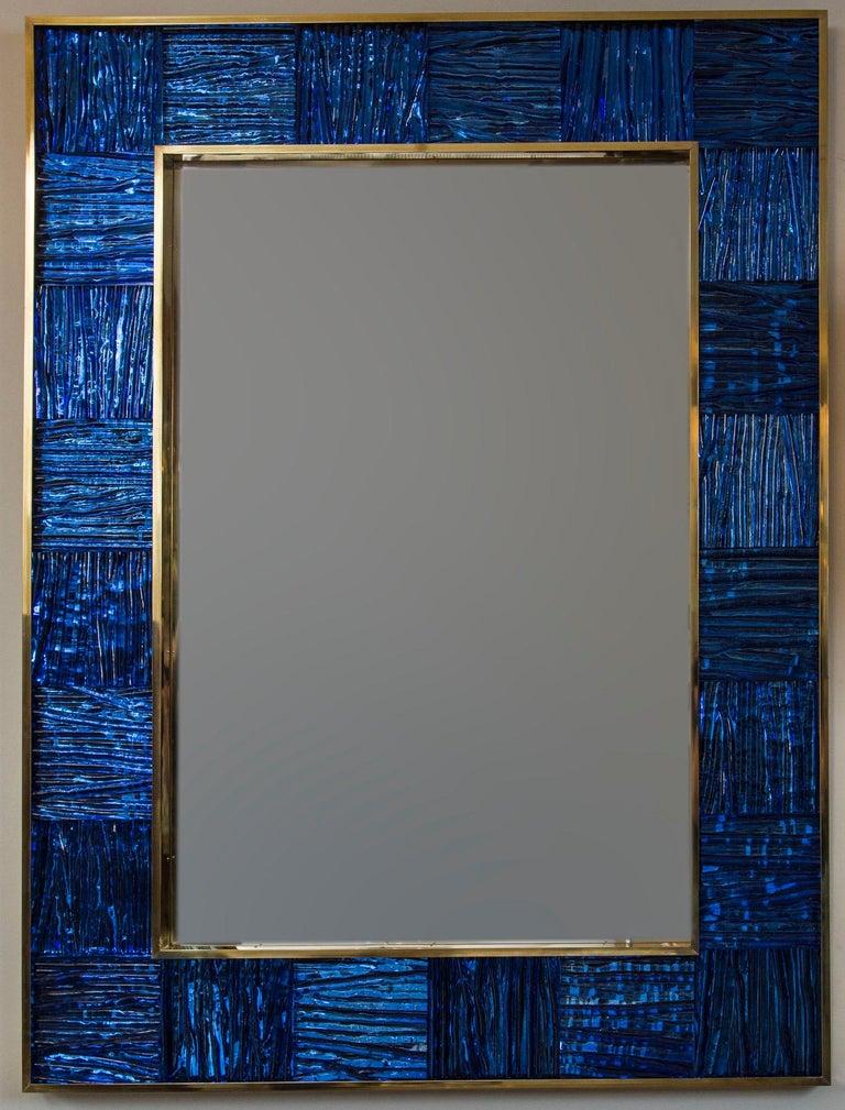 Modern Artisan Blown Klein-Blue Wave Mirror For Sale
