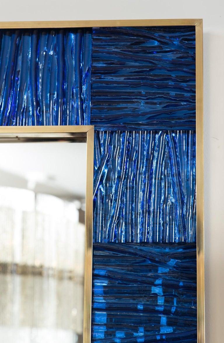 Italian Artisan Blown Klein-Blue Wave Mirror For Sale