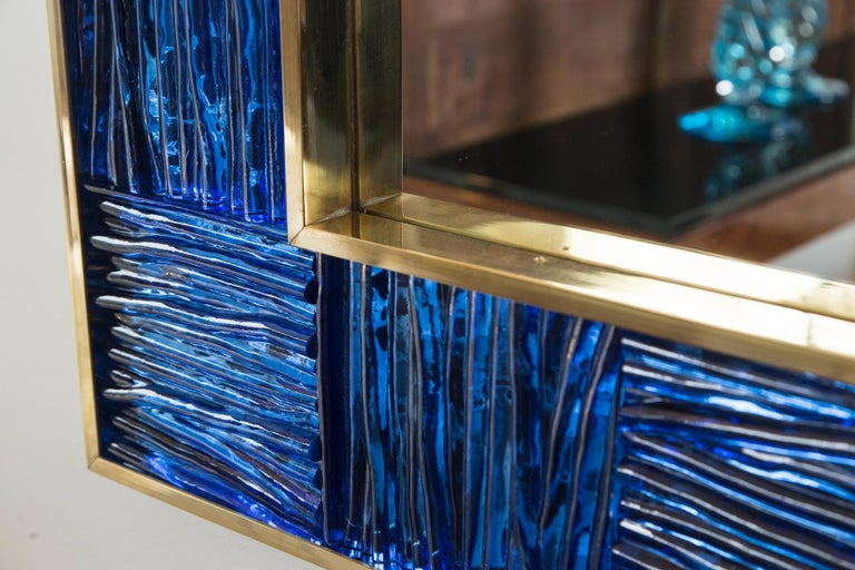 Artisan Blown Klein-Blue Wave Mirror In Excellent Condition For Sale In Westport, CT