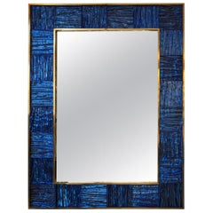 Artisan Blown Klein-Blue Wave Mirror