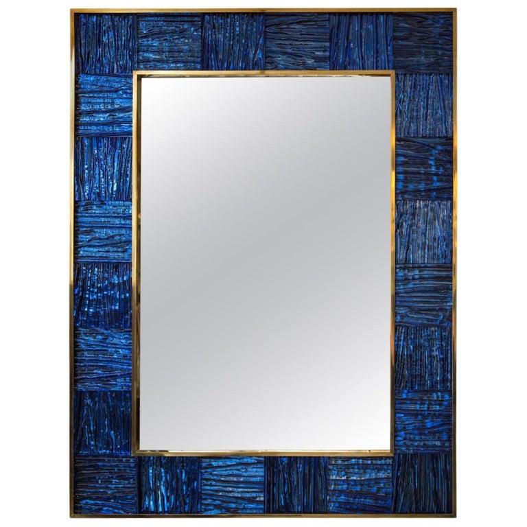 Artisan Blown Klein-Blue Wave Mirror For Sale