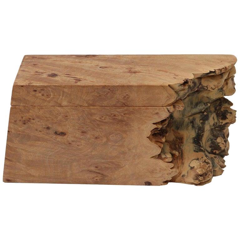 Artisan Burl Wood Box by Michael Elkan For Sale