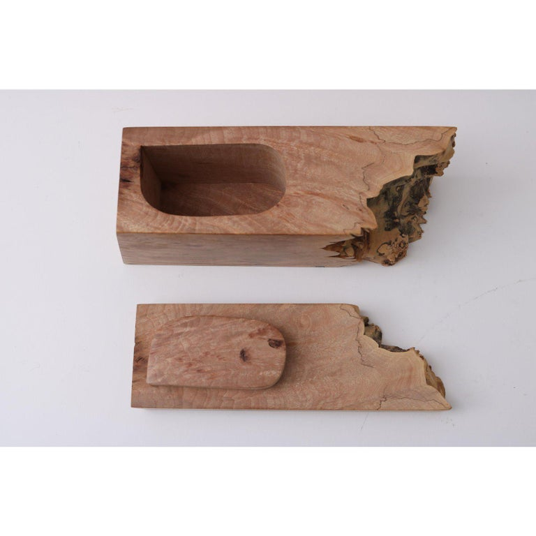 Hand-Crafted Artisan Burl Wood Box by Michael Elkan For Sale