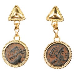 Artisan-Crafted Dangling Earrings from Late Roman Era Bronze Coins & 21 kt Gold