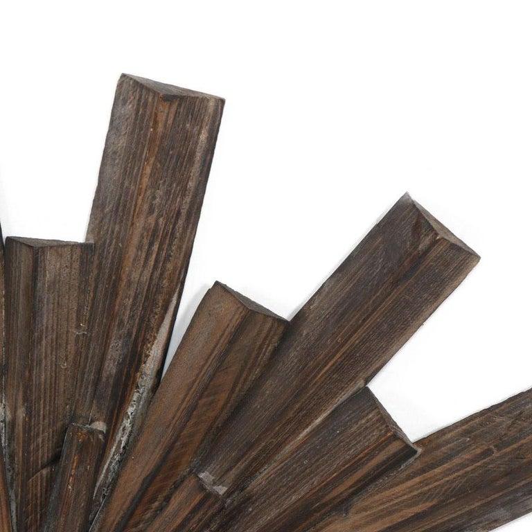 Mid-Century Modern Artisan Crafted Rustic Sunburst Convex Mirror For Sale