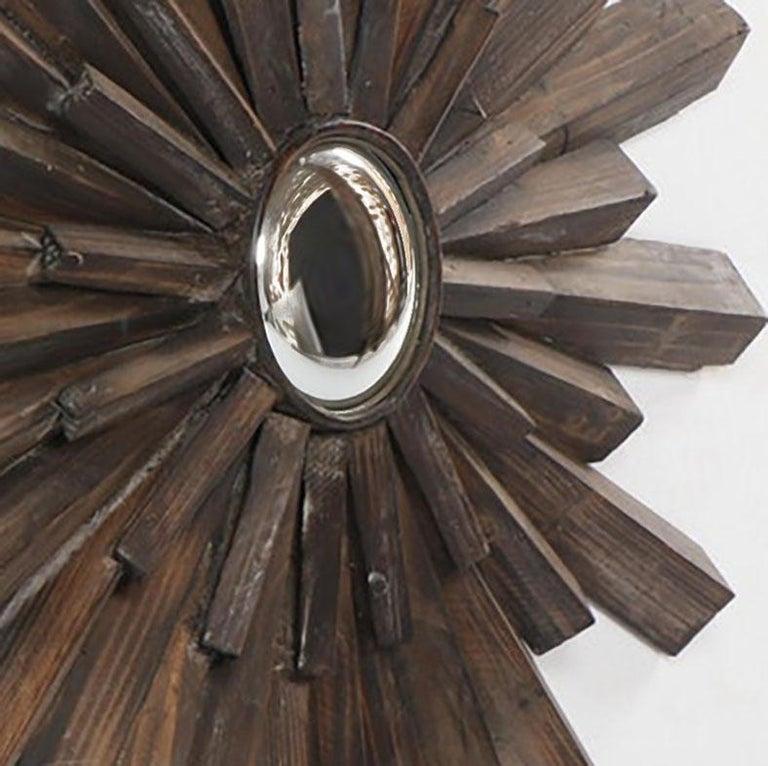 American Artisan Crafted Rustic Sunburst Convex Mirror For Sale
