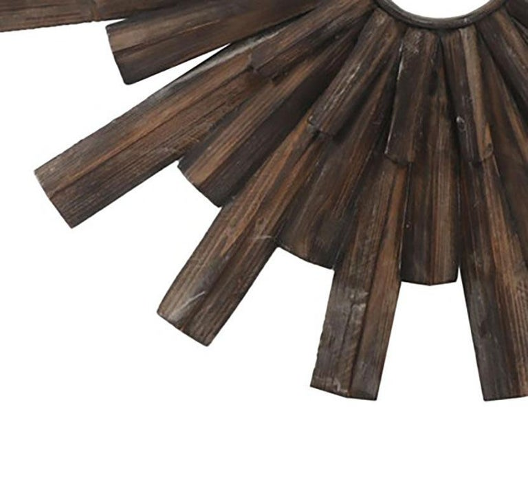 Cerused Artisan Crafted Rustic Sunburst Convex Mirror For Sale