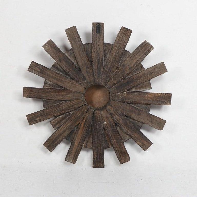 20th Century Artisan Crafted Rustic Sunburst Convex Mirror For Sale