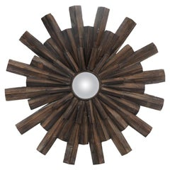 Artisan Crafted Rustic Sunburst Convex Mirror
