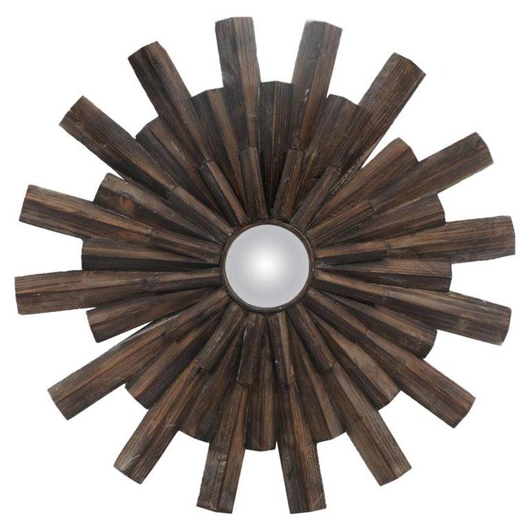 Artisan Crafted Rustic Sunburst Convex Mirror For Sale
