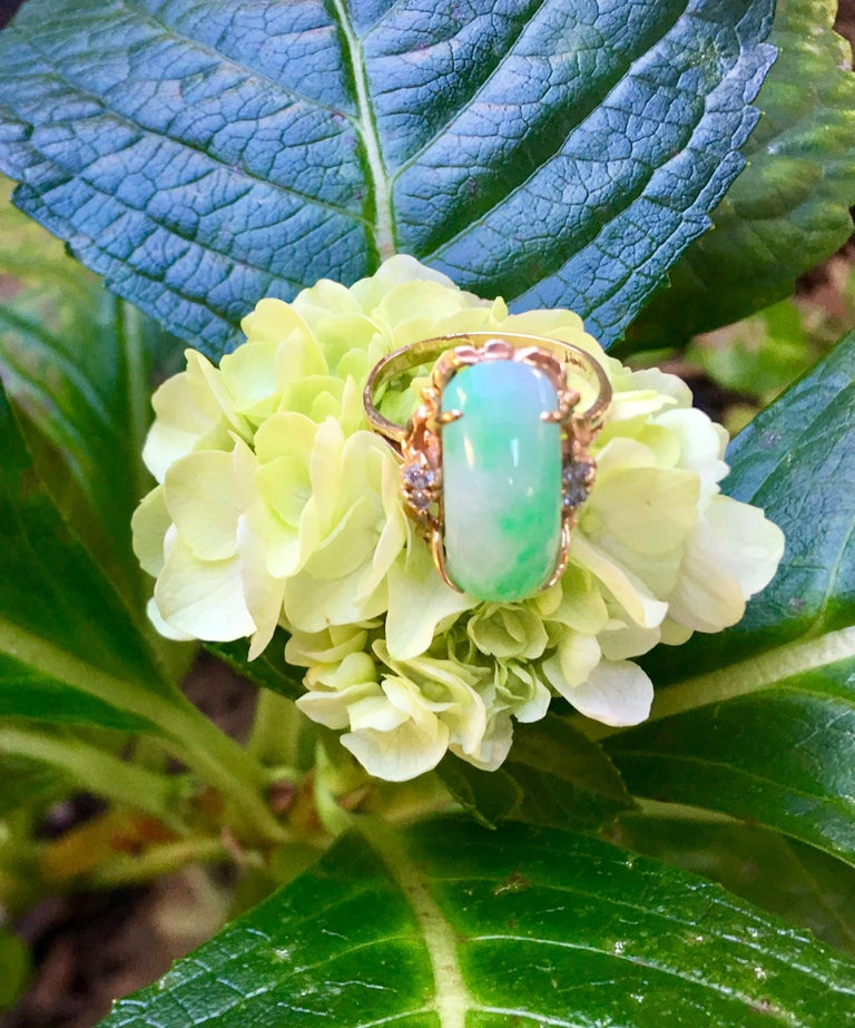 Beautifully proportioned, 18 karat yellow gold estate ring from the 1970s features a large, custom curved cut, elongated natural apple green and white variegated jade stone, prong set in 18 karat yellow gold and accented with 4 prong set, round