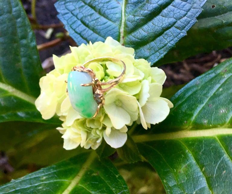 Artisan Custom 18 Karat Yellow Gold Variegated Apple Green Jade and Diamond Ring For Sale 3