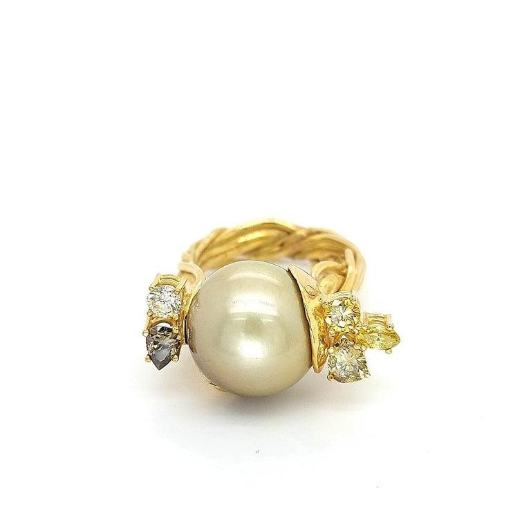 Pear Cut Artisan De Saedeleer 18Kt Yellow Gold Tahiti Pearl and 1.22 Carat Diamonds Ring For Sale