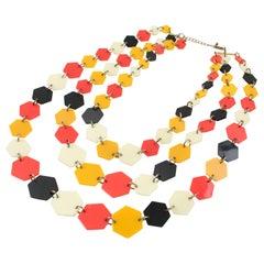 Lucite Multi-Strand Necklace Orange Black Cream Losange
