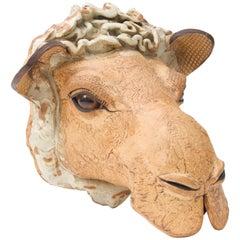 Artisan Earthenware Wall-Mount Camel Head