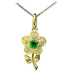 Artisan Flower Design Emerald Diamond Pendant 18 Karat Yellow Gold