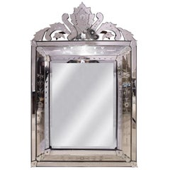 Artisan French Mirror With Reverse Etched Design, 1950s