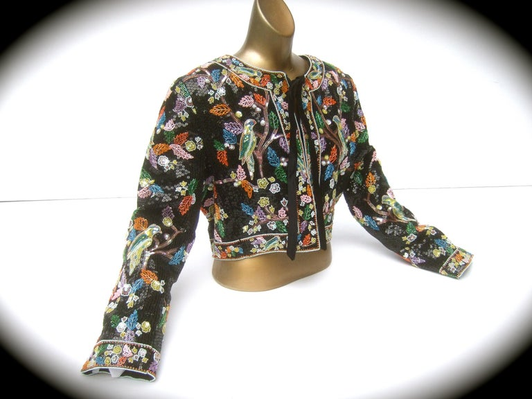 Artisan Glass Beaded Birds of Paradise Floral Sequined Bolero Jacket c 1980s  For Sale 5