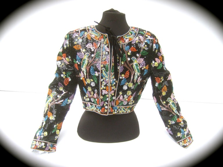 Artisan Glass Beaded Birds of Paradise Floral Sequined Bolero Jacket c 1980s  For Sale 6
