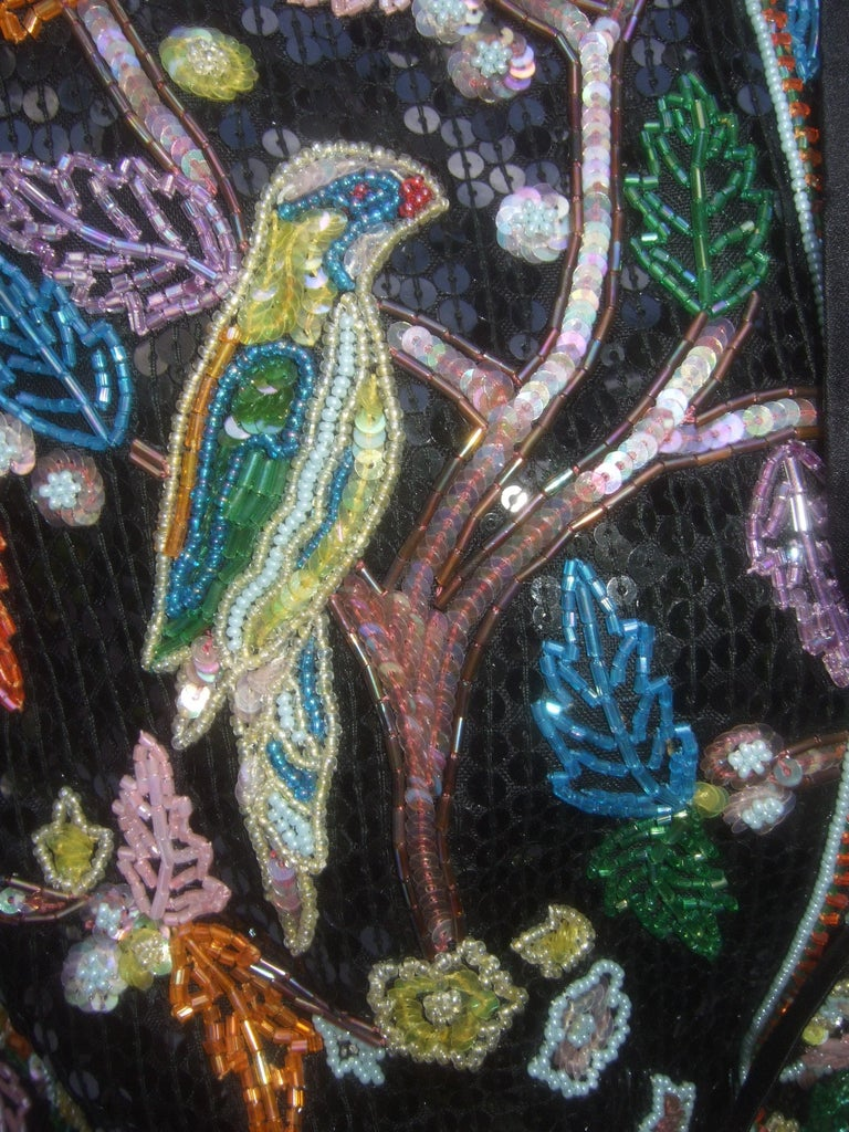 Artisan Glass Beaded Birds of Paradise Floral Sequined Bolero Jacket c 1980s  For Sale 7