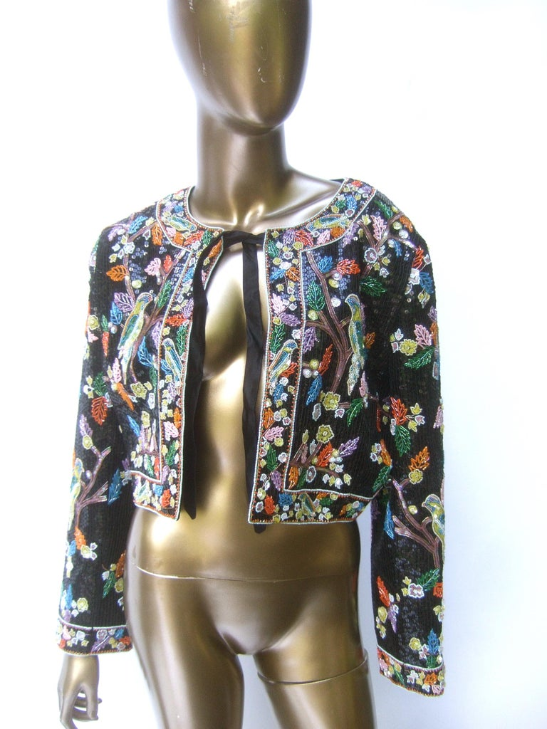 Artisan Glass Beaded Birds of Paradise Floral Sequined Bolero Jacket c 1980s  For Sale 8